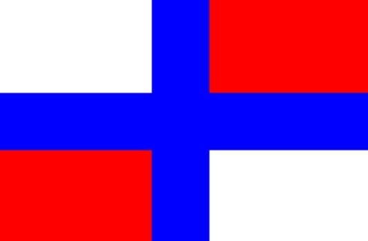 Primera bandera rusa en el barco Oriol