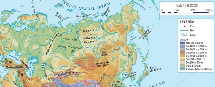 Mapa de la orografía rusa