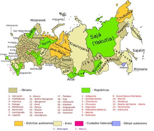 Mapa político de Rusia