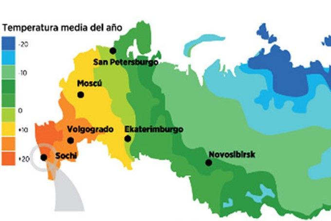 Mapa de temperaturas anuales medias en Rusia