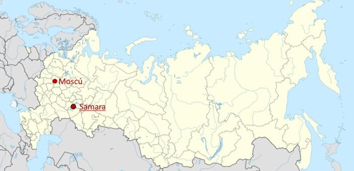 Samera y Moscú en el mapa de Rusia