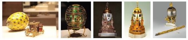 Algunos de los huevos de Fabergé que se pueden ver el Museo de la Armería del Kremlin