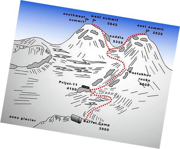 acceso monte elbrus pico oriental y pico occidental desde el refugio 11
